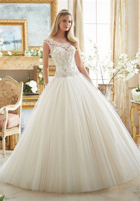 Crystal Beaded Embroidery on Tulle Ball Gown   Style 2884