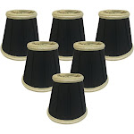 "Royal Designs Black Decorative Trim Empire Chandelier Lamp Shade, 3"" x 5"" x 4.5"", Clip On- Set of 6"