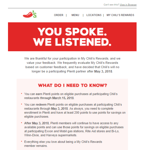 Chili's Leaving Plenti Rewards - Doctor Of Credit