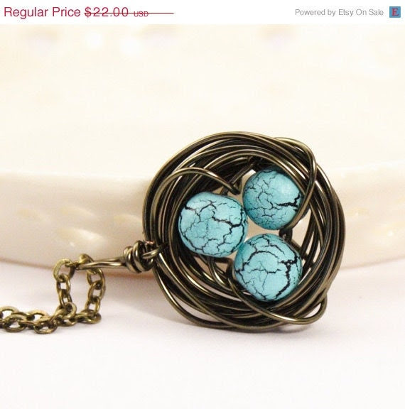 HOLIDAY SALE - Sweet Bird Nest Necklace With Robins Eggs - Gift For Mom