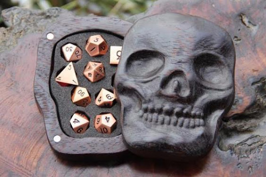 Win This Wooden Skull Case With Set Of Rose Gold Dice! (Over $200 Value)