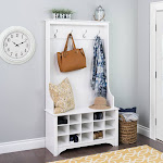 """Prepac Hall Tree with Bench and Shoe Storage fresh white 38"""" Wide Hall Tree with 15 Shoe Cubbies"""