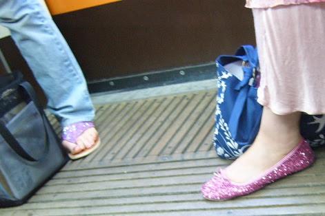 Pink glittery sandals