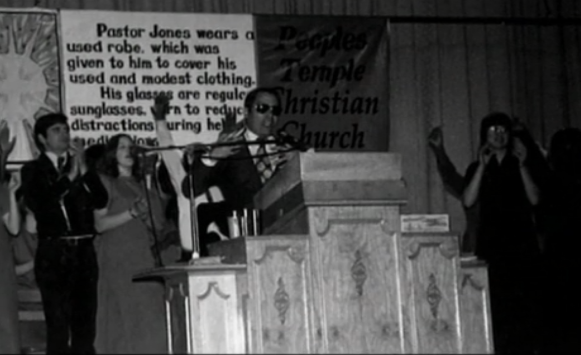 Jim Jones at the pulpit in Jonestown, Guyana
