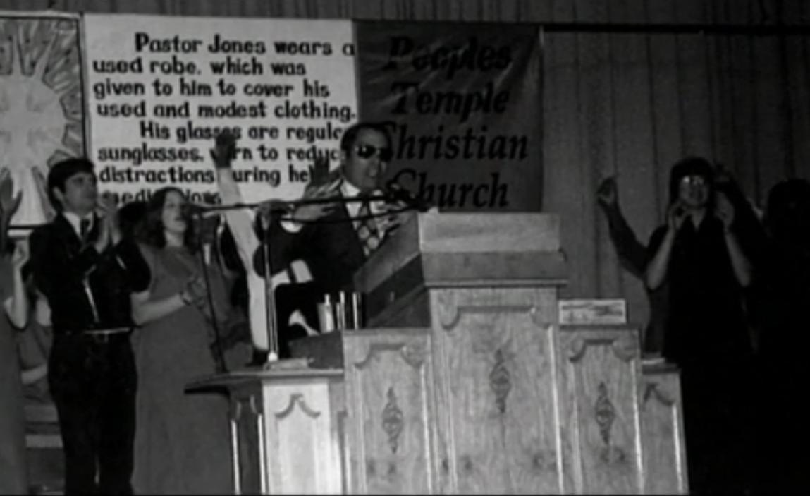 Jim Jones at the pulpit in Jonestown, Guyana
