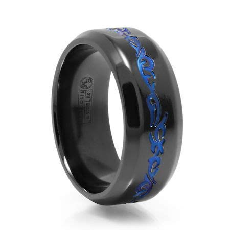 Tribal Design Black Titanium Ring With Blue Anodized by