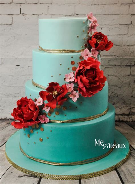 Turquoise and red wedding cake   cake by Mé Gâteaux