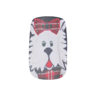 red green navy blue white plaid puppy nail decals