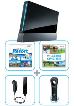 Wii bundle with Wii Sports Resort contents (black)