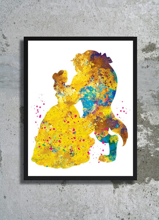 Beauty and the Beast Watercolor Art Print Disney by BogiArtPrint