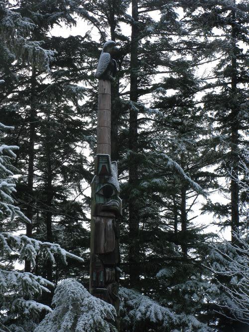 snow on a totem pole in Kasaan Totem Park, Kasaan, Alaska