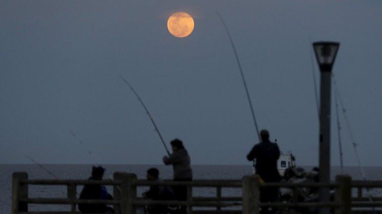 La Costanera de Buenos Aires durante el comienzo del eclipse de Luna