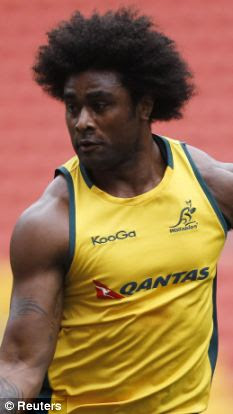 Unconcerned: Wallabies player Radike Samo said he was not offended by the unnamed pair's 'tribute' to his image