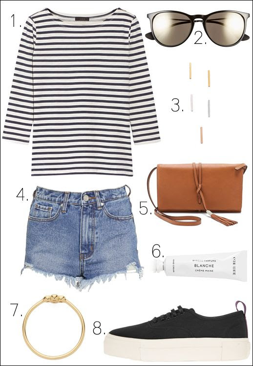Le Fashion Blog Easy Casual Summer Style J.Crew Breton Striped Tee Ray-Ban Mirrored Sunglasses Bar Earrings Unif Cut Off Denim Shorts Byredo Cream Eytys Sneakers