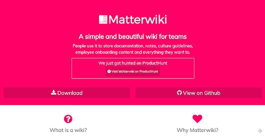 Matterwiki: Free Knowledge Management for Small Teams | NOUPE