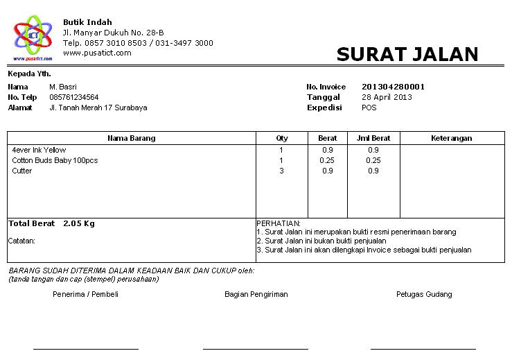contoh surat jalan pengiriman barang doc surat 8