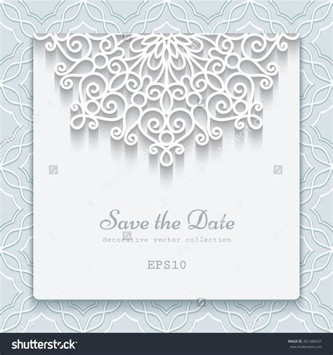 Elegant Save The Date Card With Lace Decoration, Vintage
