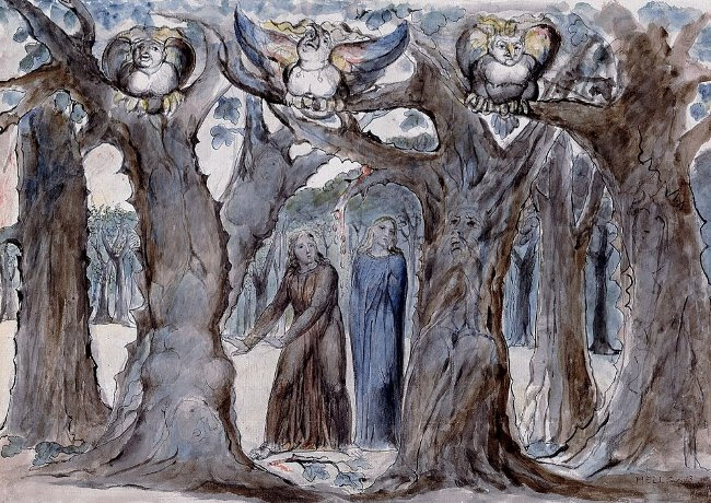Il bosco dei suicidi di William Blake con le Arpie
