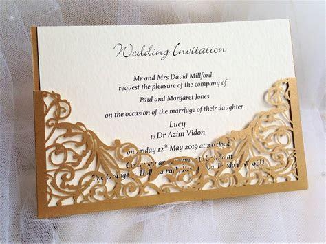 Gold Pocket Laser Cut Wedding Invitations £2.25   Golden