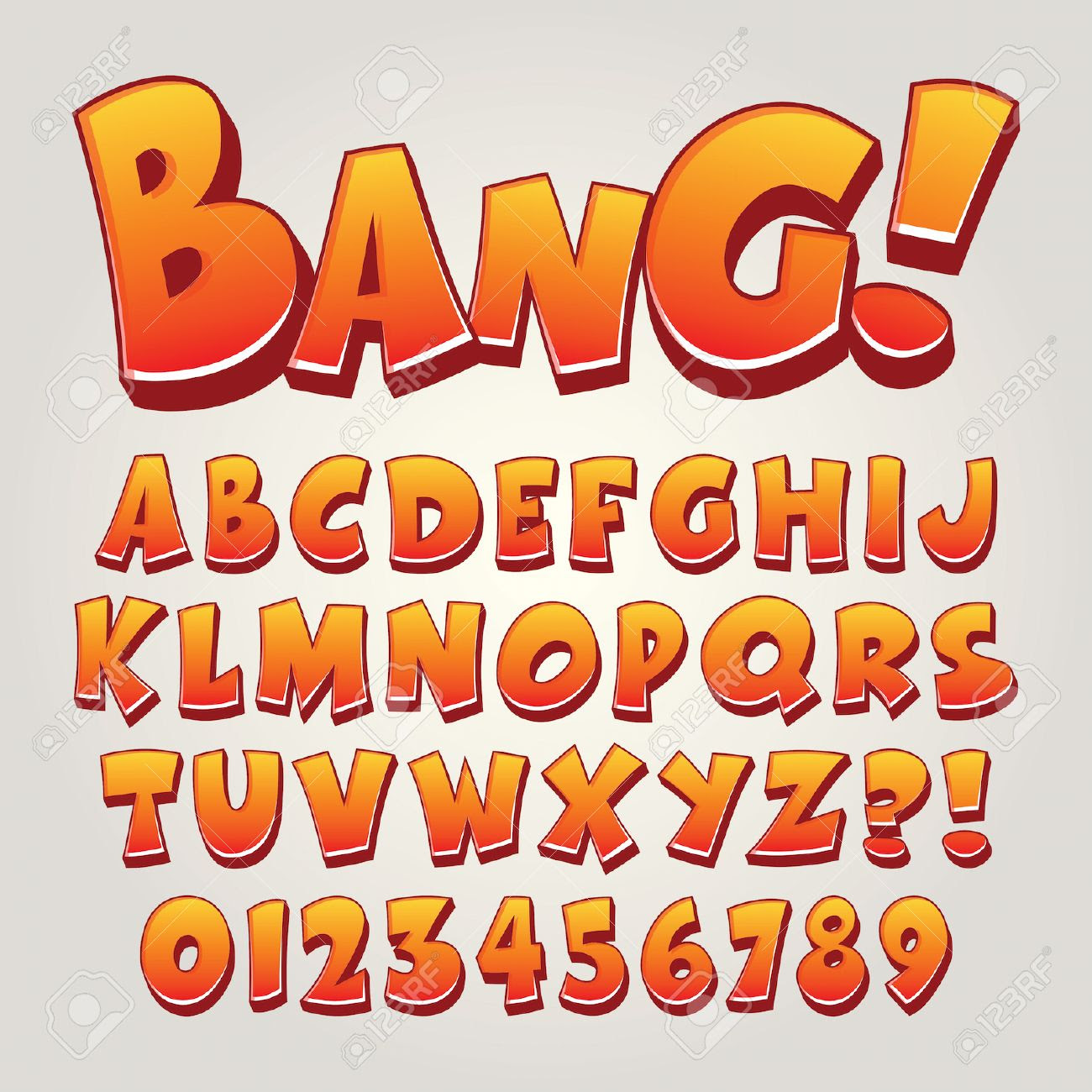 Comic Pop Art Alphabet And Numbers, Editable Royalty Free Cliparts ...