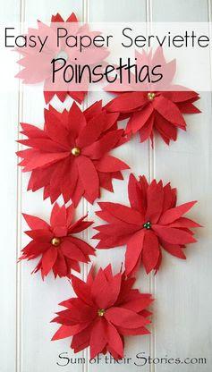 Easy paper serviette Poinsettias