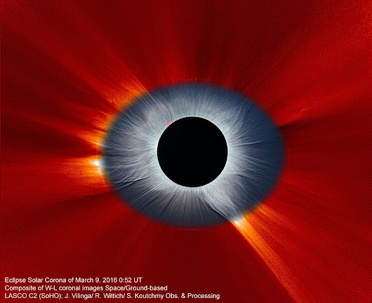 APOD: 2016 April 12 - Combined Solar Eclipse Corona from Earth and Space
