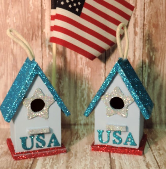 Two Patriotic USA Glittered Birdhouse Ornaments