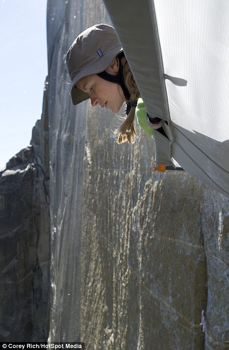Don't look down: The climbers were unfased by the potential drop of thousands of feet