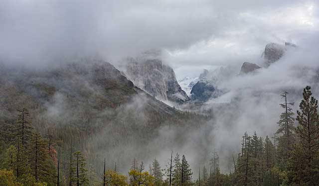 Tunnel View in Yosemite National Park,                             California