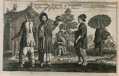 17th century engraving of male and female Chinese peasants