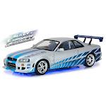 Greenlight GRE19041 1999 Nissan Skyline GT-R R34 Blue Neon LED Lights Underglow Model Car - 2003 2 Fast 2 Furious