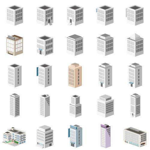 建物オフィスビルの無料イラスト素材 Zet Art