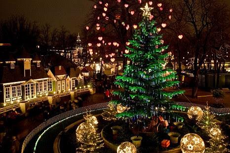 A Christmas tree at Tivoli Gardens' Christmas market in Copenhagen