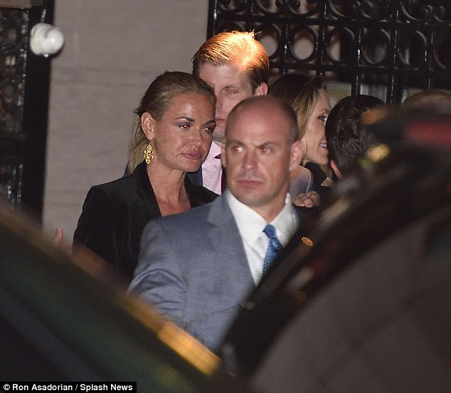 Eric Trump and his sister-in-law Vanessa Trump are pictured above together outside of the 21 Club on Tuesday evening