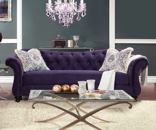 Antoinette Sofa in Purple by Furniture of America
