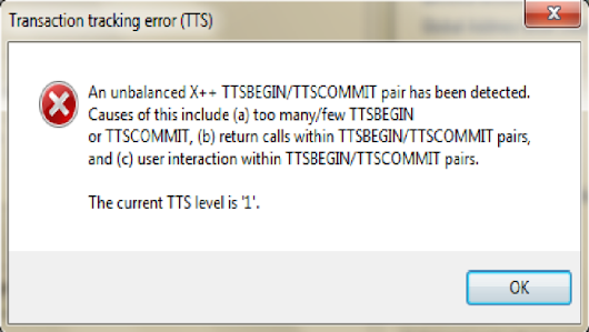 AX 2012: Error TTS (Transaction Tracking)