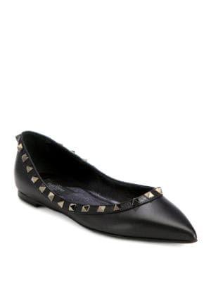 Valentino Noir Rockstud Leather Ballet Flats