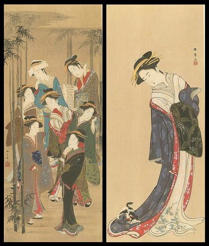 Ukiyoe sketches of women