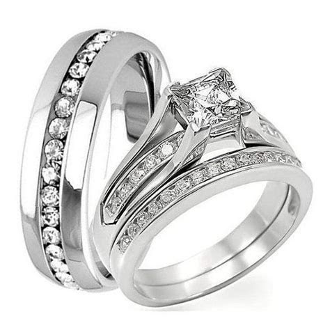 3 pc HIS HERS Engagement Wedding Bridal Band Ring Set