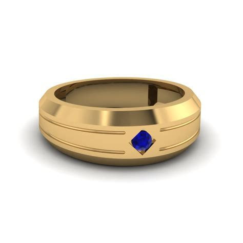 Bezel Round Blue Sapphire Mens Band Engagement Ring In 14K