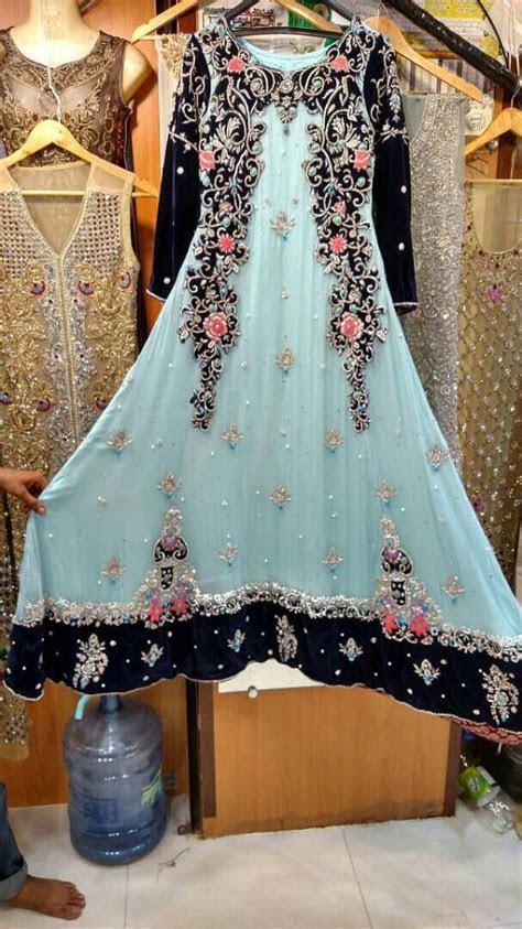 Blue Maxi Dress  Pakistani Wedding Formal, Chiffon, Hand