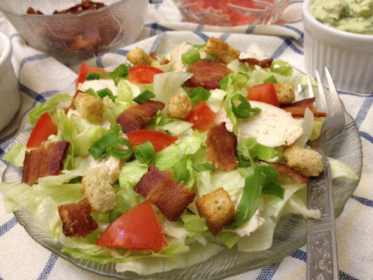 Chicken BLT salad with avocado dressing {Secret Recipe Club}