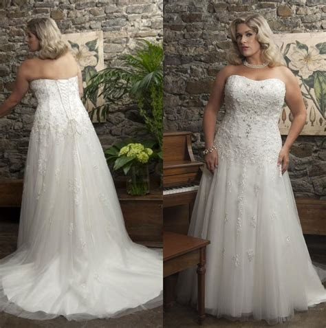 Discount Plus Size Wedding Dresses Strapless Tulle A Line