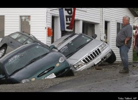 Sinkhole with Cars