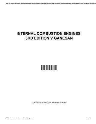 Internal combustion engines 3rd edition v ganesan by David