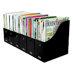 Evelots Magazine File Holder-Organizer-Full 4 inch Wide-Black-With Labels-Set/6