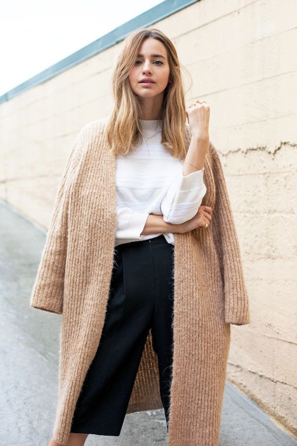Le Fashion Blog Textured Camel Coat Neutral Sweater Jacket Striped White Sweater Fall Style Via Jess Hannah