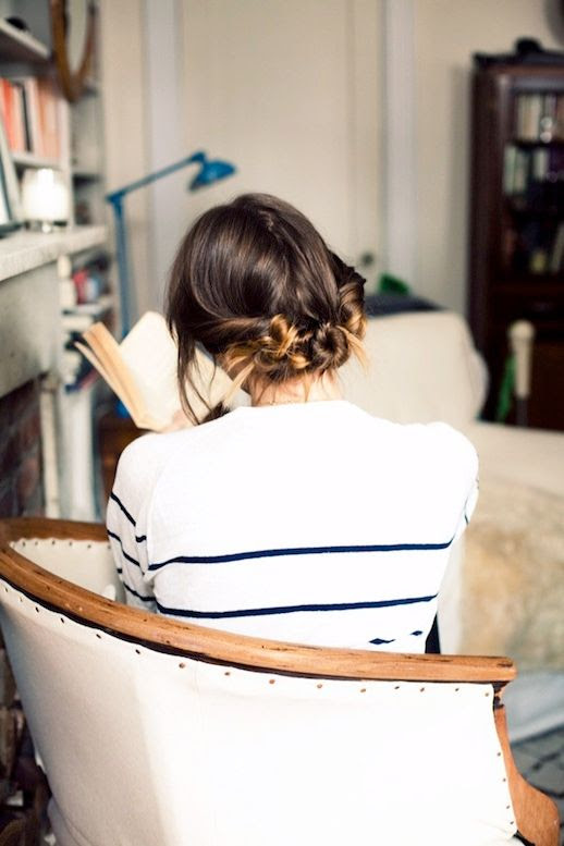 Le Fashion Blog Ombre Hairstyle How To Do Three Messy Twisted Buns White And Blue Striped Top Via Cup Of Jo