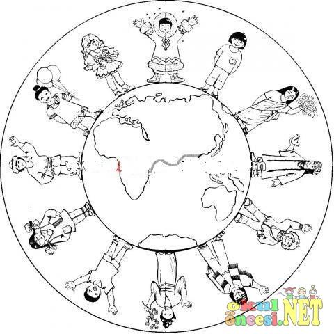 Komik Fipixde 23 Nisan Için Dünya çocukları Boyama Sayfası
