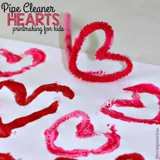 Valentine's Day Printmaking Craft with Pipe Cleaners - Where Imagination Grows